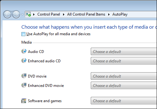 Windows 7 Control Panel, AutoPlay