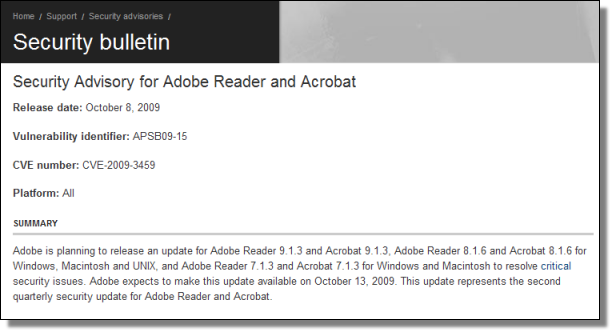 Adobe Security Advisory, 10.08.2009