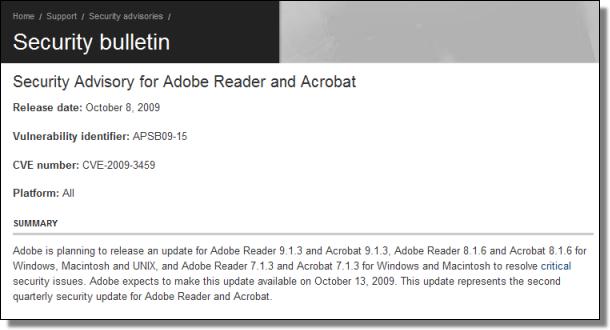 Adobe Security Advisory, 10.08.2009