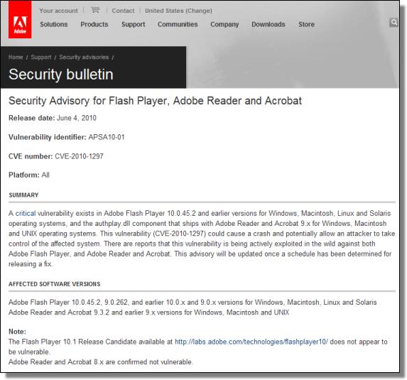 Adobe Security Bulletin, June 4th