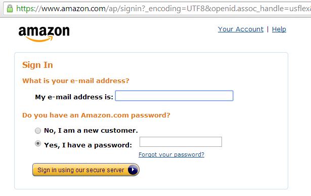 Amazon login page
