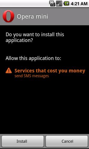 Android OpFake, permission