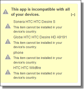 This app is incompatible with all of your devices.