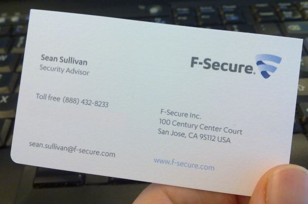 Sean's business card