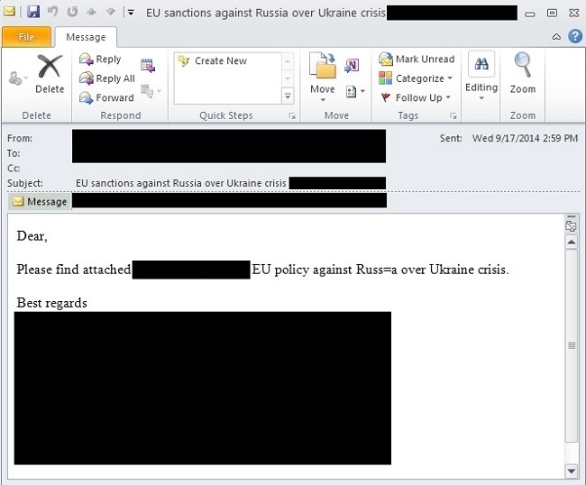Screenshot of malicious email