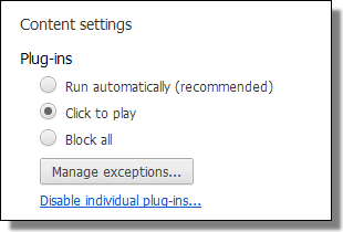 Chrome, Settings, Content, Plug-ins
