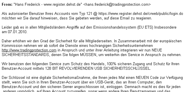 Emission phishing, German