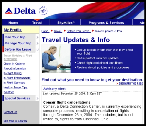 Image from www.comair.com on 26th of December 2004