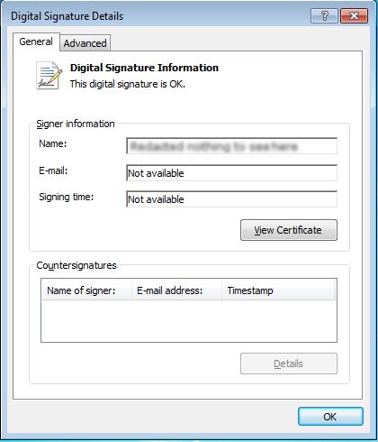 Company X's stolen certificate