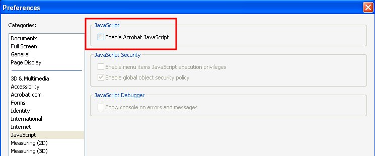 Disable JavaScript in Adobe Reader
