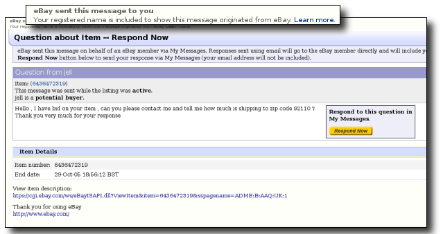 Screen shot of an eBay phish message