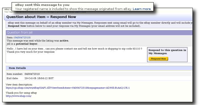 Screen shot of an eBay phish message