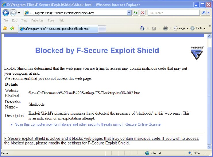 Exploit Shield blocks MS09-002