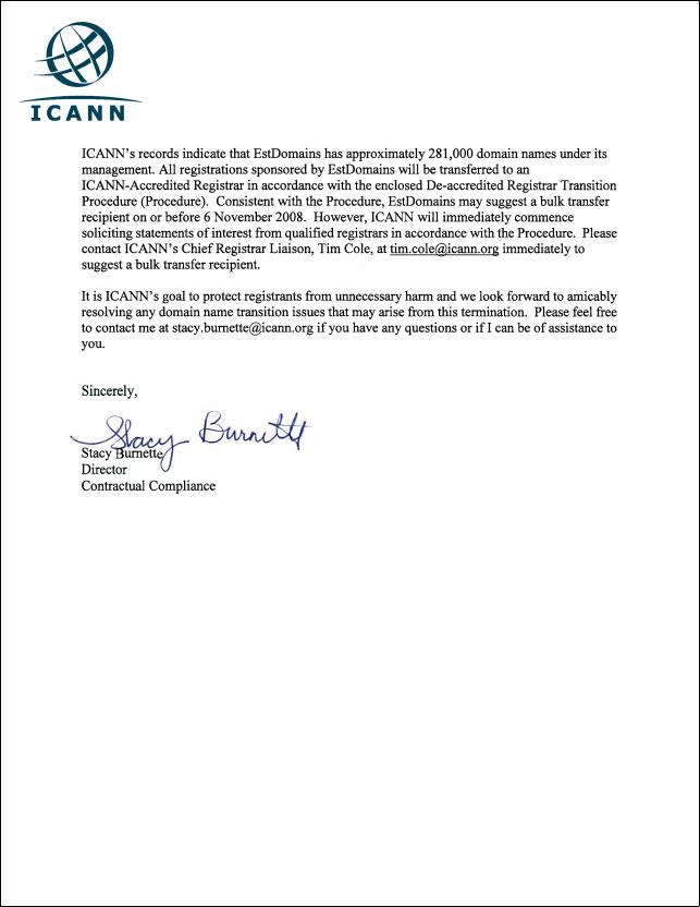 EstDomains Letter