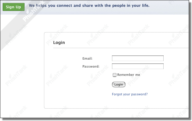 Facebook login, fake