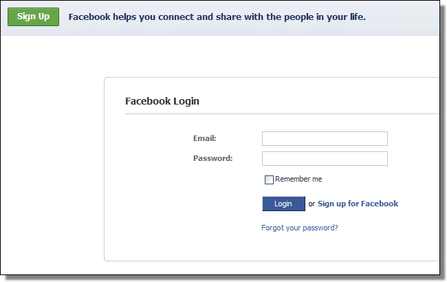 Facebook login, real