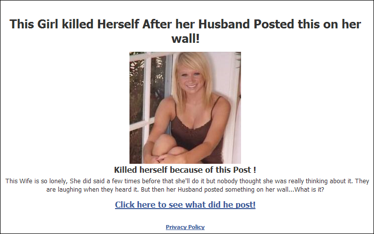 This Girl killed Herself After her Husband Posted this on her wall