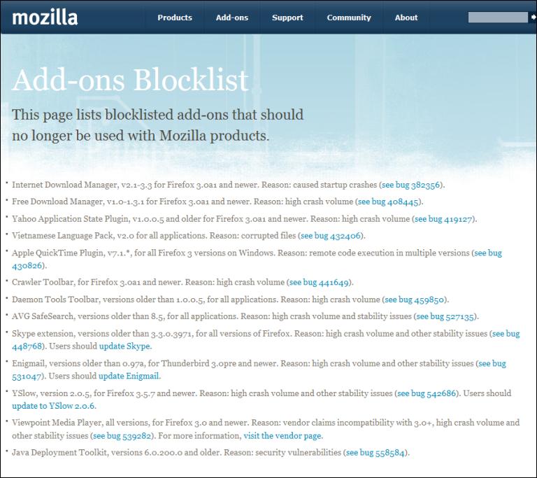 Firefox: Add-ons Blocklist