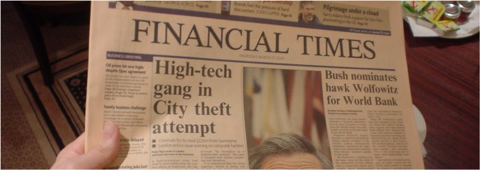 Financial Times, Thursday March 17 2005, as photographed in the lobby of the Jury's Doyle hotel on Russel Street, London