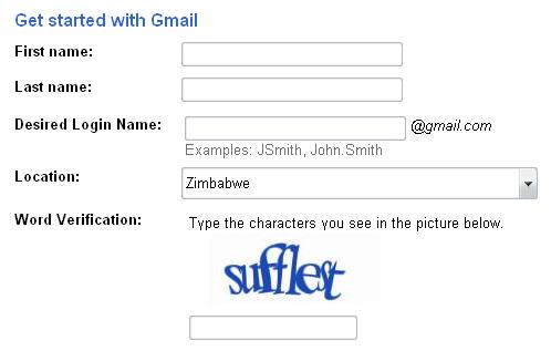 gmail captcha