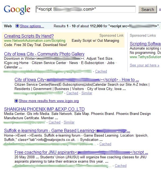 Google search results for SEO attack