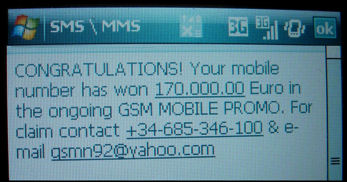 CONGRATULATIONS! Your mobile number has won 170.000.00 Euro in the ongoing GSM MOBILE PROMO. For claim contact +34-685-346-100 & e-mail gsmn92@yahoo.com