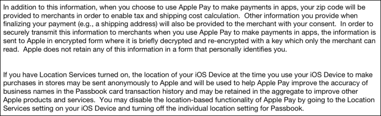 iOS 8.1.3 Terms, zip code and location