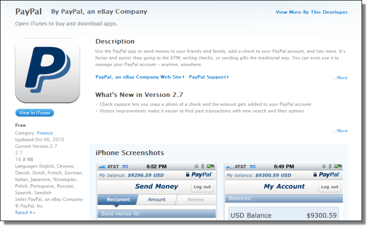 iTunes, PayPal 2.7