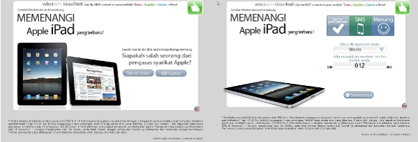 iPad scam SMS