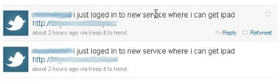 iPad scam, Twitter spam