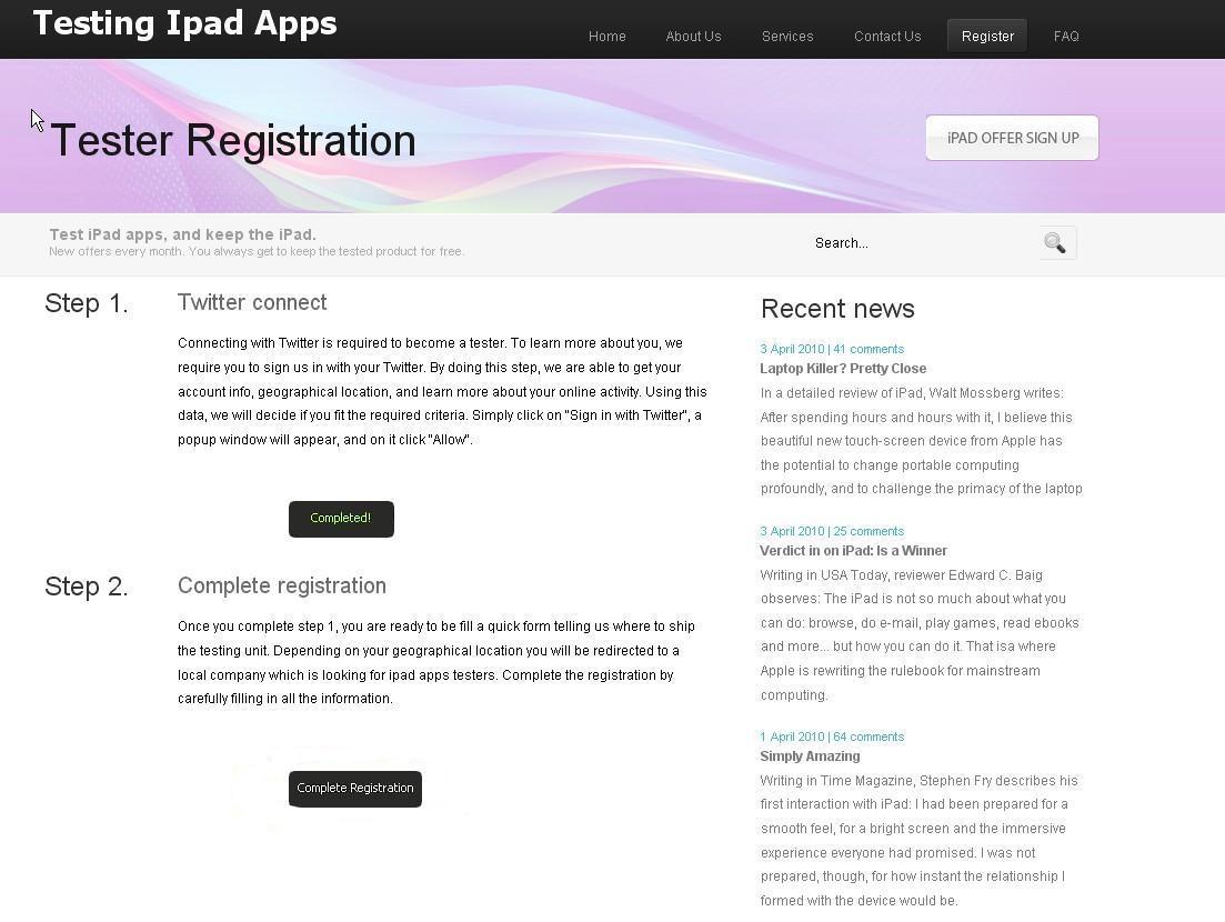 iPad scam website