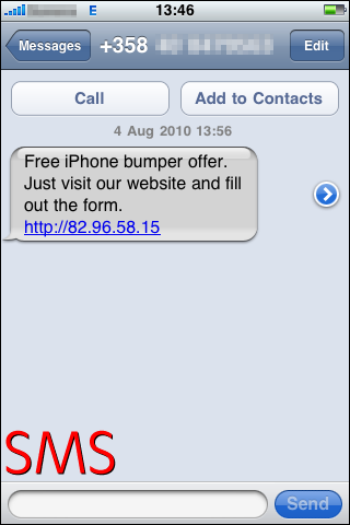 iphone sms with hyperlink