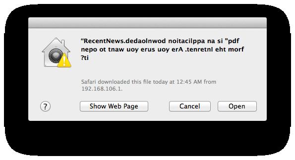 OS X file quarantine notification