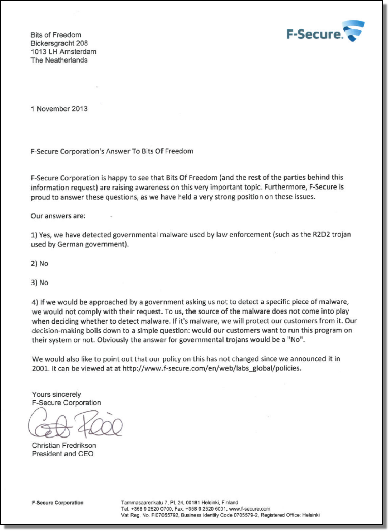Letter to bof.nl