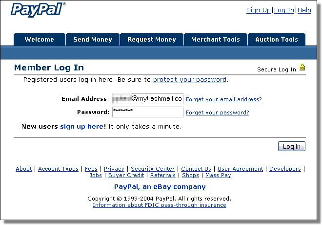 PayPal fake login screenshot