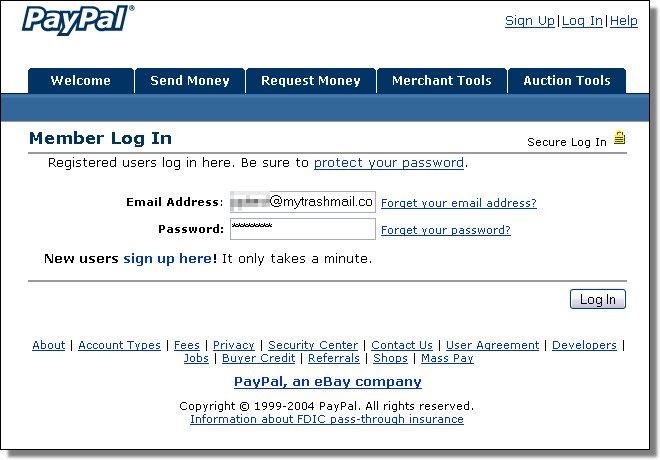 PayPal fake login screenshot