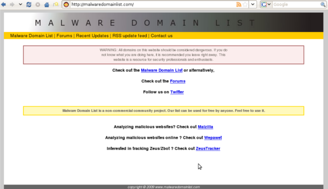 Malware Domains List