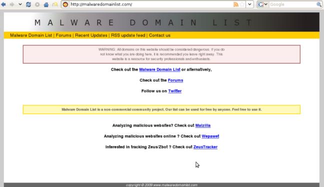 Malware Domains List