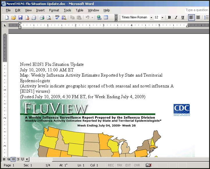 Novel H1N1 Flu Situation Update