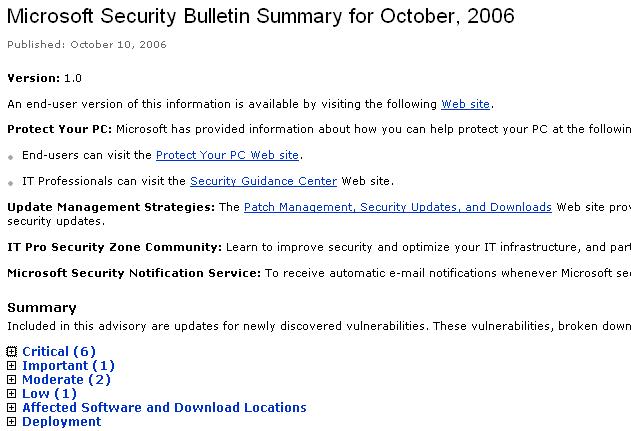 Oct 2006 Update