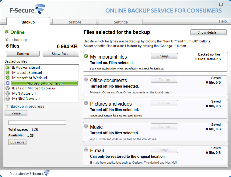 Online Backup Beta, version 2.2.0