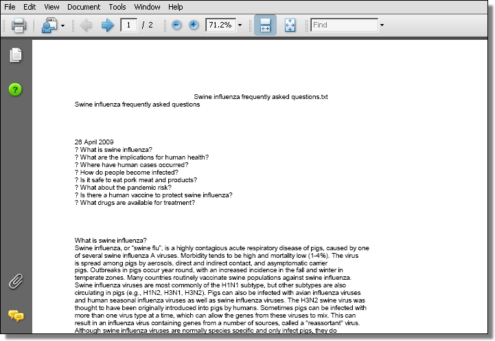 PDF based exploit using swine flu FAQ