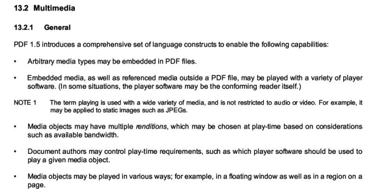 PDF specs