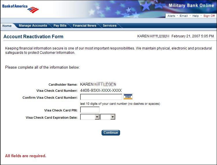 BOA Military Phishing