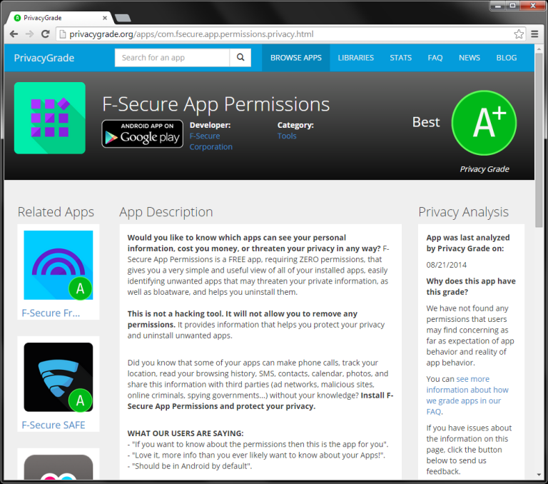 PrivacyGrade, F-Secure App Permissions A+