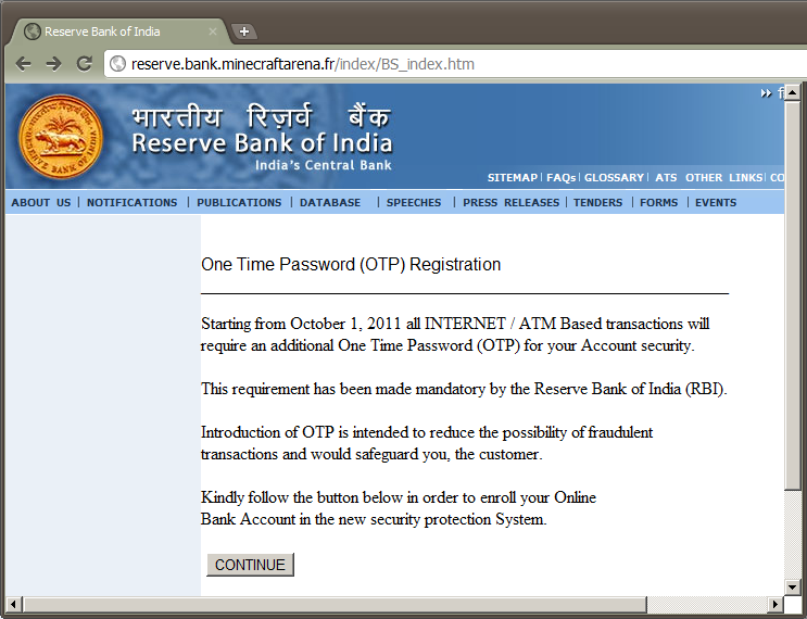 Reserve Bank of India phishing