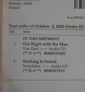 (Amazon.com receipt dated 3rd of October 2005)