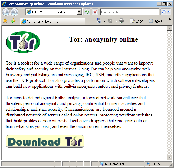the button in that web page will download a malicious file called tor