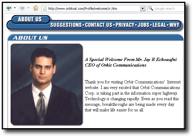 Screenshot from the old www.orbitsat.com website