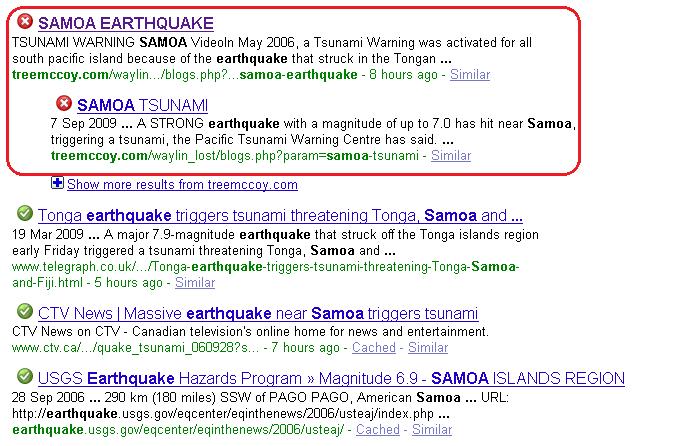 Samoa earthquake, Google